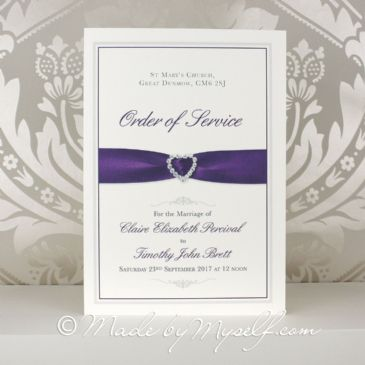 Printed Ribbon Heart Order of Service
